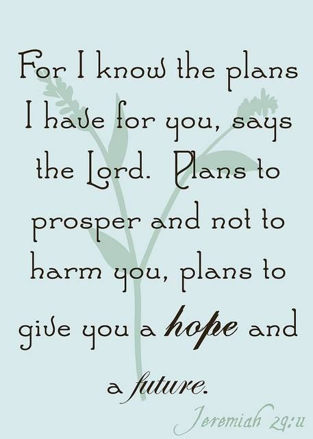 ❥ For I know the plans I have for you, says the Lord...