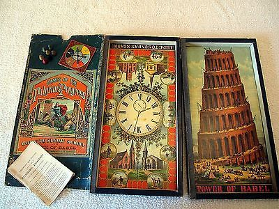 *RARE* Antique 1875 McLoughlin Board Game Set: Games of the Pilgrim's Progress - 3 Games in one set