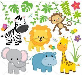 Simple Wandsticker Safari Kinderzimmer Zoo Tiere bsm B