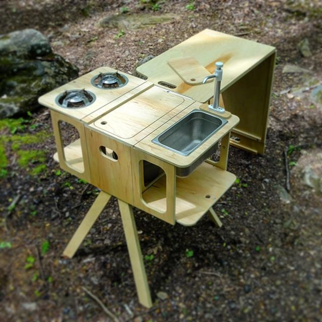 Removable Camp Kitchen. One of Four components available for the Honda Element Micro Camper System. ••••• This compact kitchen, while designed for the Element, can travel in any vehicle. ••••• https://fifthelementcamping.com/universal-camp-kitchen/fifth-element-camp-kitchen