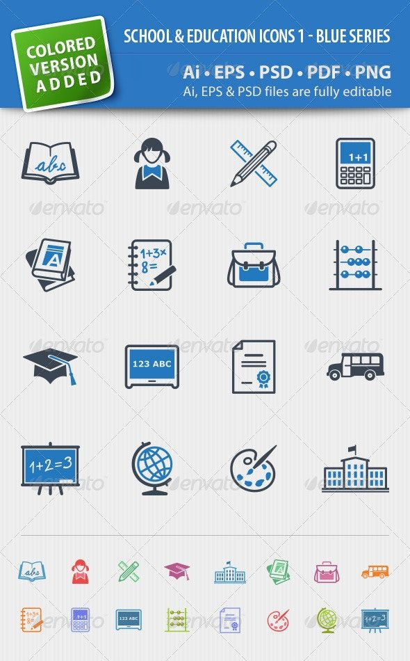 School And Education Icons Set 1 Blue Series Affiliate Icons