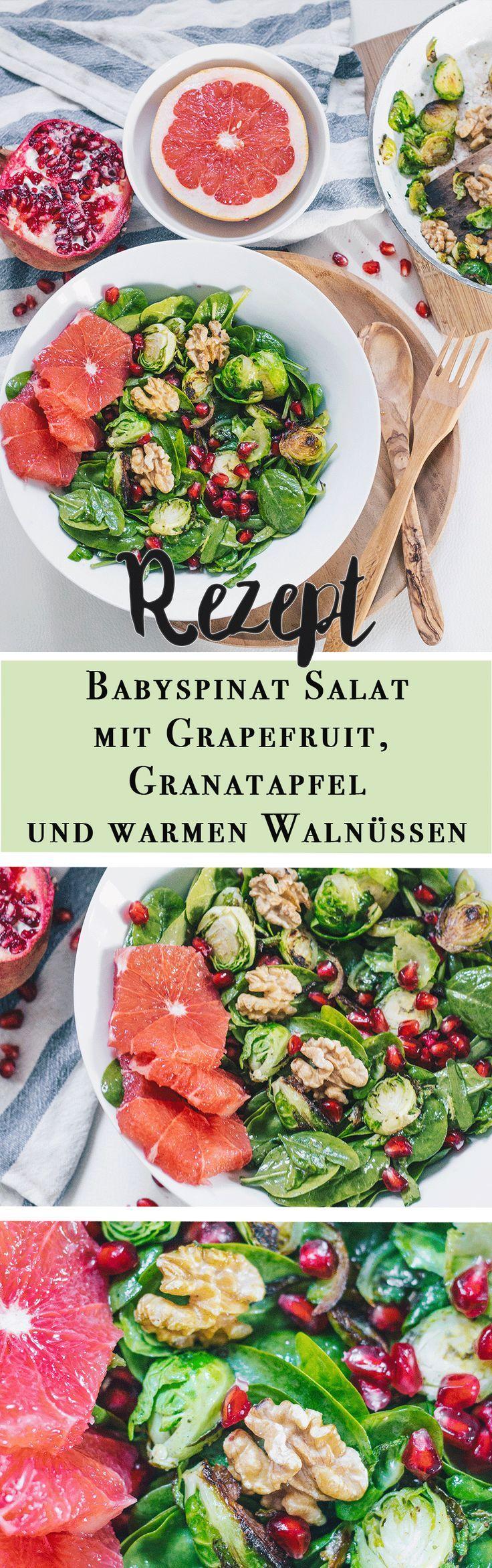 Winter Salat mit Walnüssen, Grapefruit und Granatapfelkernen auf VANILLAHOLICA.com . Mit einem Salat kann man sowohl im Winter als auch Sommer nicht falsch machen. Ein Walnuss, Grapefruit und Granatapfelkern Salat mit Babykohlsprossen und Babyspinat, enthält viel Eisen und reichlich wichtige Vitamine, um das Immunsystem zu stärken. Einfach, lecker, vegan, und im Handumdrehen zubereitet.