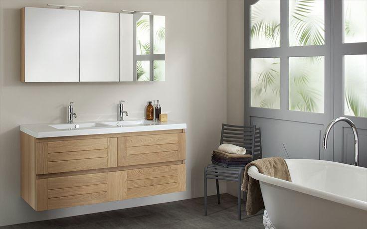 ensemble Lignum de Sanijura avec armoire de toilette, miroir, meuble