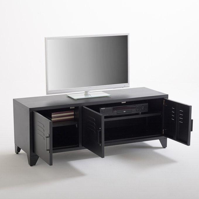 Meuble Tv Style Indus 3 Portes Noir Mat Hiba La Redoute Interieurs Noir La Redoute In 2020 Interieur Industrial