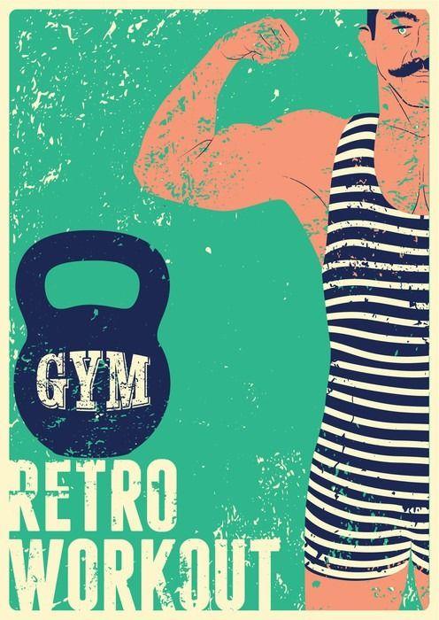 Typographic Gym vintage grunge poster design with strong man. Retro vector illustration. Pixerstick Sticker - Sports