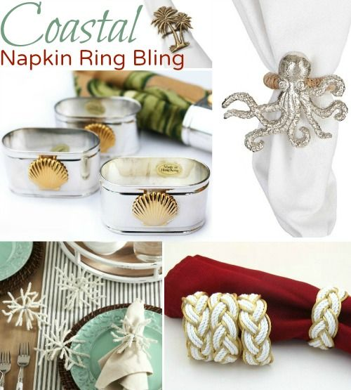 Coastal Nautical Napkin Ring Holders for Table Bling.... http://www.completely-coastal.com/2016/11/festive-coastal-nautical-napkin-ring.html