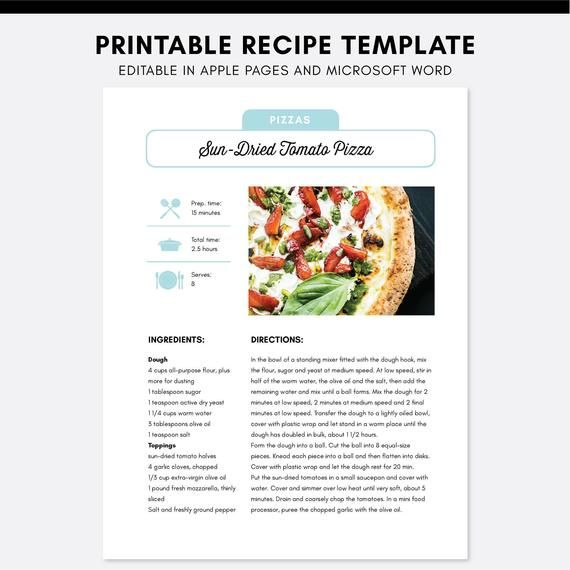 Editable Recipe Pages Template Apple Pages Microsoft Word Cookbook Printable Recipe Book Template Editable Recipes Cookbook Template In 2020 Recipe Template Food Printables Recipes