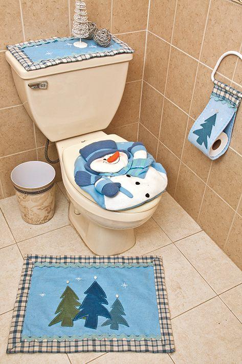 Juego de baño con mono de nieve #DIY