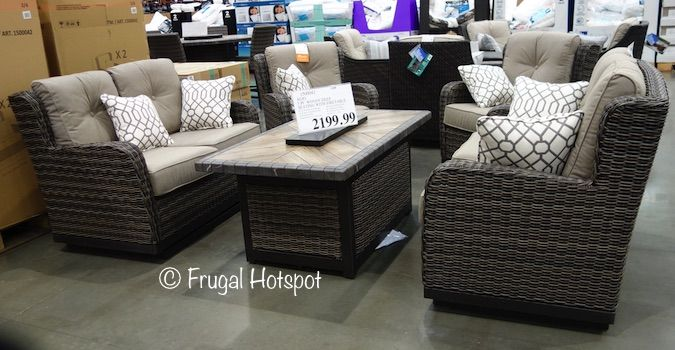 Costco Agio Eastport 5 Pc Woven Seating Set With Fire Table 2 199 99 Agio Patio Furniture Patio Furniture Layout Costco Patio Furniture