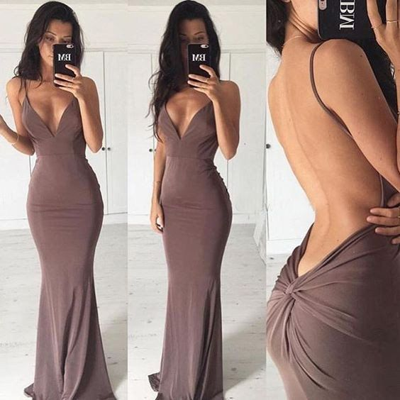 Sexy Sheath Backless V-Neck Chiffon Brown Long Evening Dresses, New Arrive Stylish Prom Dress, FS1466