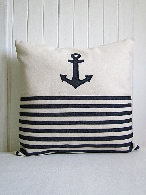 Nautical Throw Pillows / Anchor Cover Cushion / Navy blue stripes / Denim and Natural Cotton / 18 X 18 / Boat Decor