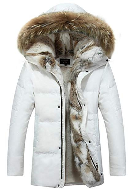 Men 90/% Duck Down Quilted Long Jacket Faux Fur Hooded Parka Overcoat Thick Warm