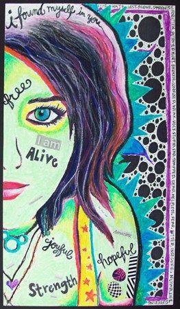Oil Pastel Expressive Self-Portrait - Conway High School Art Project