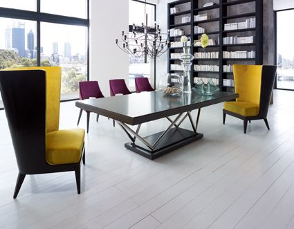 Table and Chair WALDORF with Bergére ASTORIA designed by Lorenzo Bellini #SELVA #furniture #diningroom