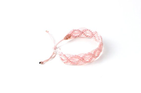 This blush pink macrame string bracelet is handmade with Linhasita wax coated polyester string. Perfect color to match anything. Looks great worn by itself or stacked with other string bracelets! Super lightweight, and comfortable enough to sleep in! Bracelet measures 6 1/2 around