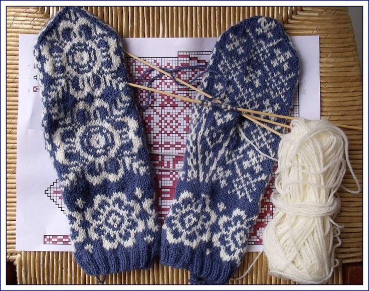 Mittens blue and white.