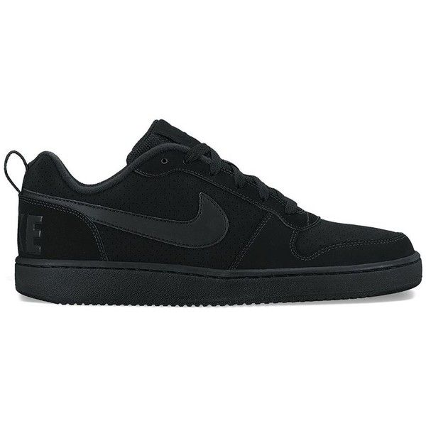 Nike Court Borough Low Men's Basketball Shoes ($55) ❤ liked on Polyvore featuring men's fashion, men's shoes, men's athletic shoes, black, men's low top basketball shoes, mens black shoes, men's low top shoes, nike mens athletic shoes and mens shoes