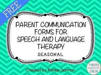 Free! Parent Communication forms for speech and language therapy