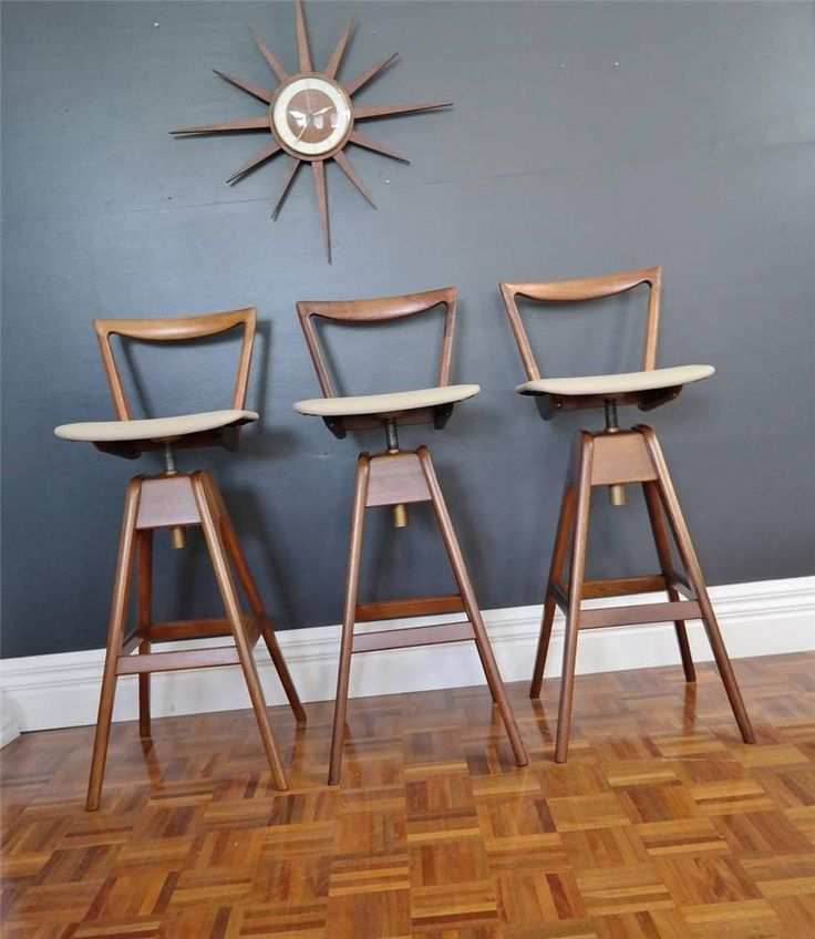 vintage TH BROWN bar stool trio REFURBISHED parker MID CENTURY RETRO danish era