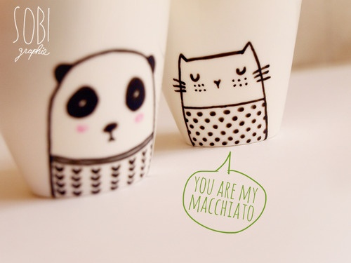 Cute coffee cups by Sobi ♥