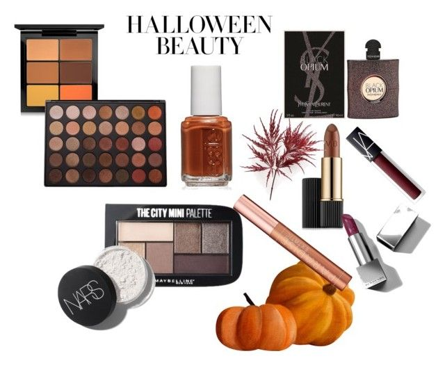 halloween beauty by wearitblack on Polyvore featuring beauty, Estée Lauder, Burberry, MAC Cosmetics, NARS Cosmetics, Morphe, L'Oréal Paris, Maybelline, Yves Saint Laurent and Essie