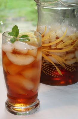 Mint Infused Iced Tea - I used a little less than a 1/2 cup of sugar and found it still a little too sweet. Also added lemon.