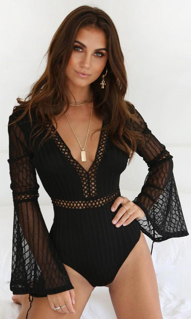 ade812d0d5 Heavenly Bodies Bandage Black Sheer Mesh Lace Long Flare Sleeve Backless  Bodysuit Top