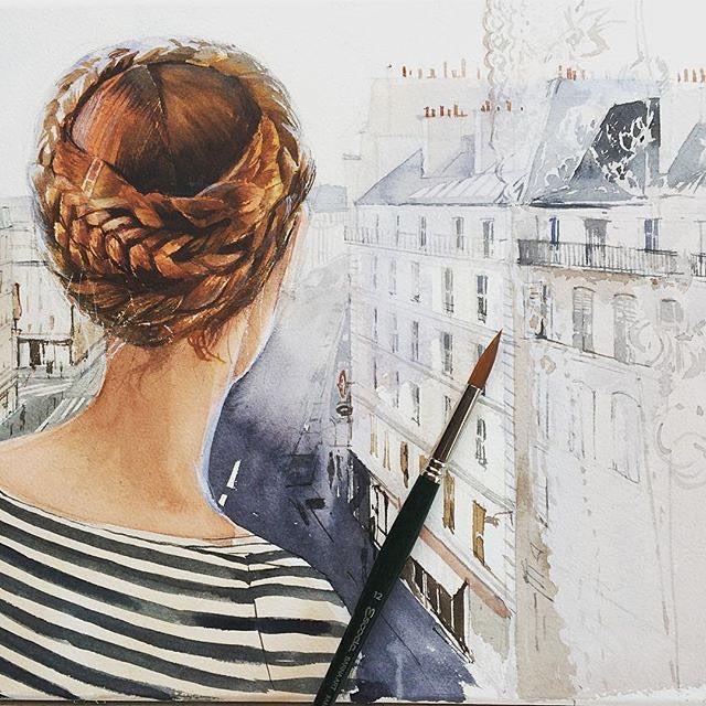 Парижское настроение от @kalachevaveronika Спасибо за хэштег! #арт #графика #художник #живопись #акварель #искусство