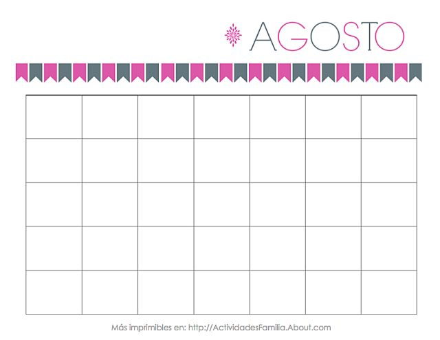 Calendarios Personalizables para imprimir y organizar tu mes: Calendario de Agosto