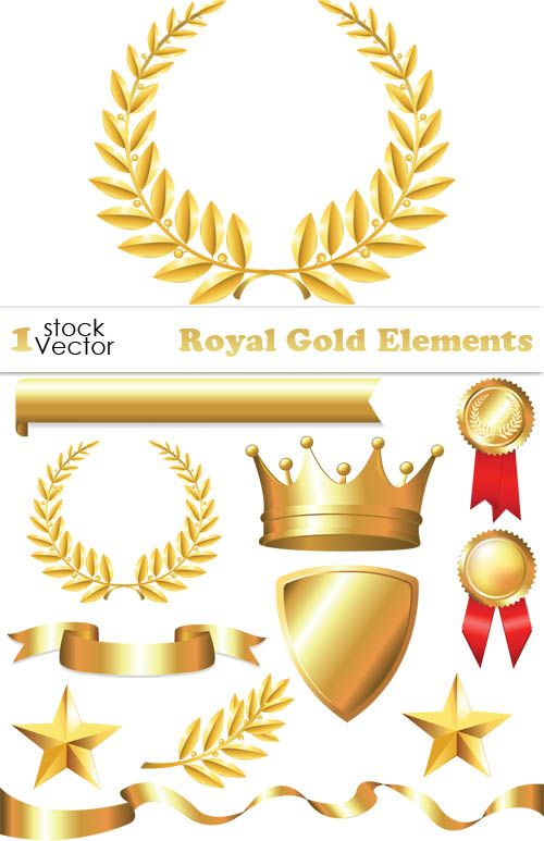 Золотые векторные элементы - корона, медаль, лавровый венок, щит, ленты