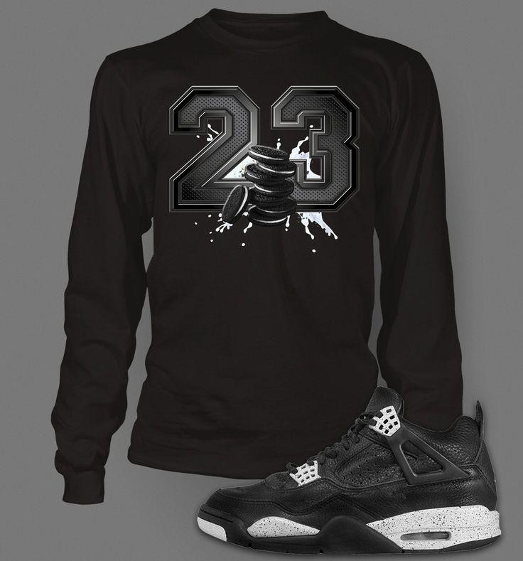 Long Sleeve Graphic T-shirt To Match Retro Air Jordan 4 Oreo Shoe