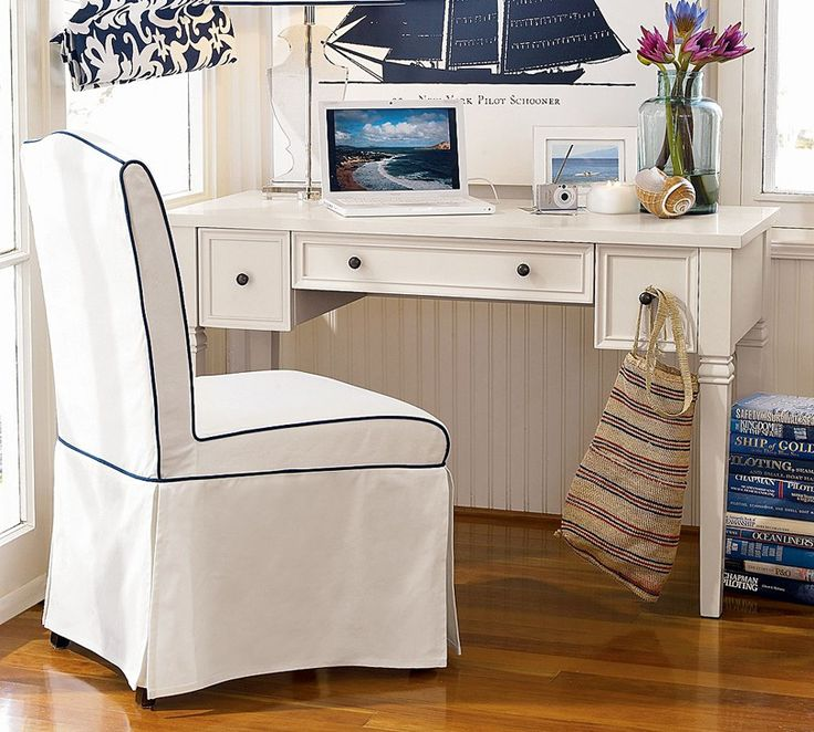 White And Navy Blue Nautical Home Office......I Love It