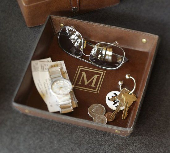 Leather Tray: Add a gold monogram ($7) to this handsome leather catchall ($29) for a sophisticated spot to hold his favorite accessories.