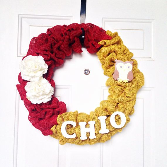 Chi Omega Themed Burlap Wreath by AllAboutTheBurlap on Etsy