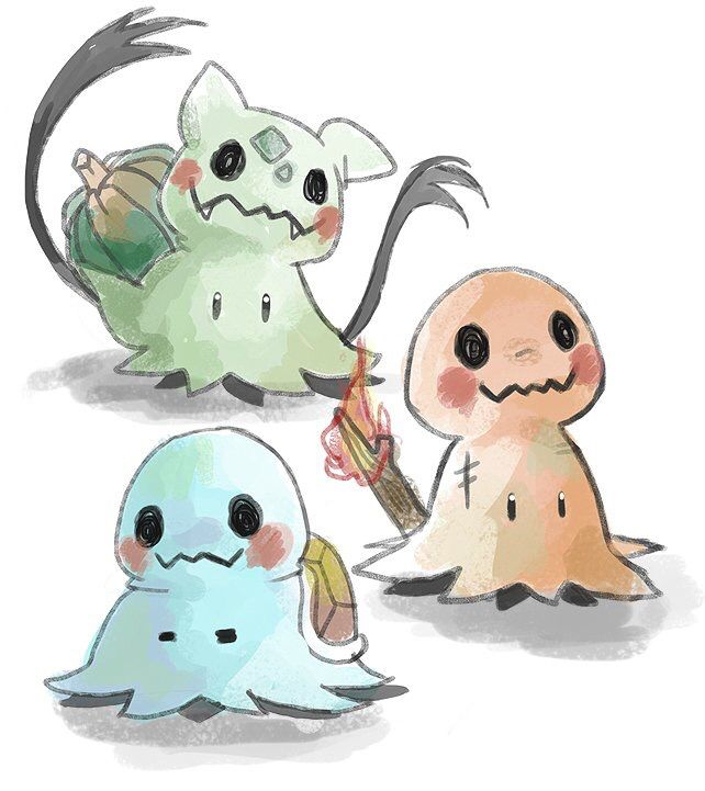 Fan art of the Pokémon Mimikyu as Squirtle, Charmander, and Bulbasaur   Credit goes to its original owner