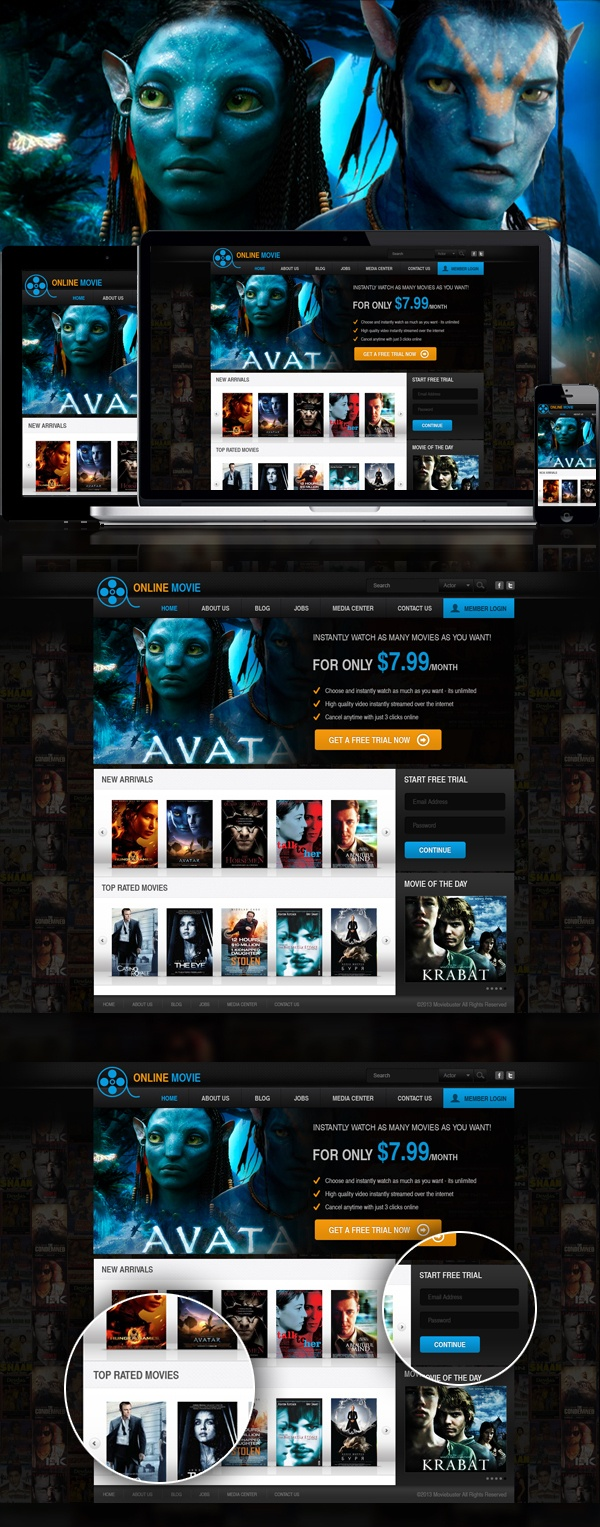 Another option for previously done movie website on Behance