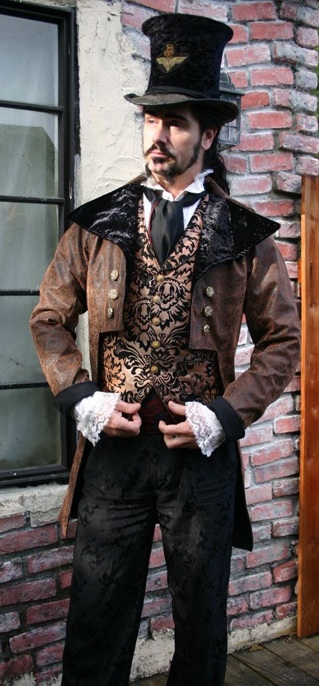 Brown and Black Tooled Faux Leather Steampunk Frock Cutaway Coat, Vest, Shirt and Cravat. $ 525.00, via Etsy.
