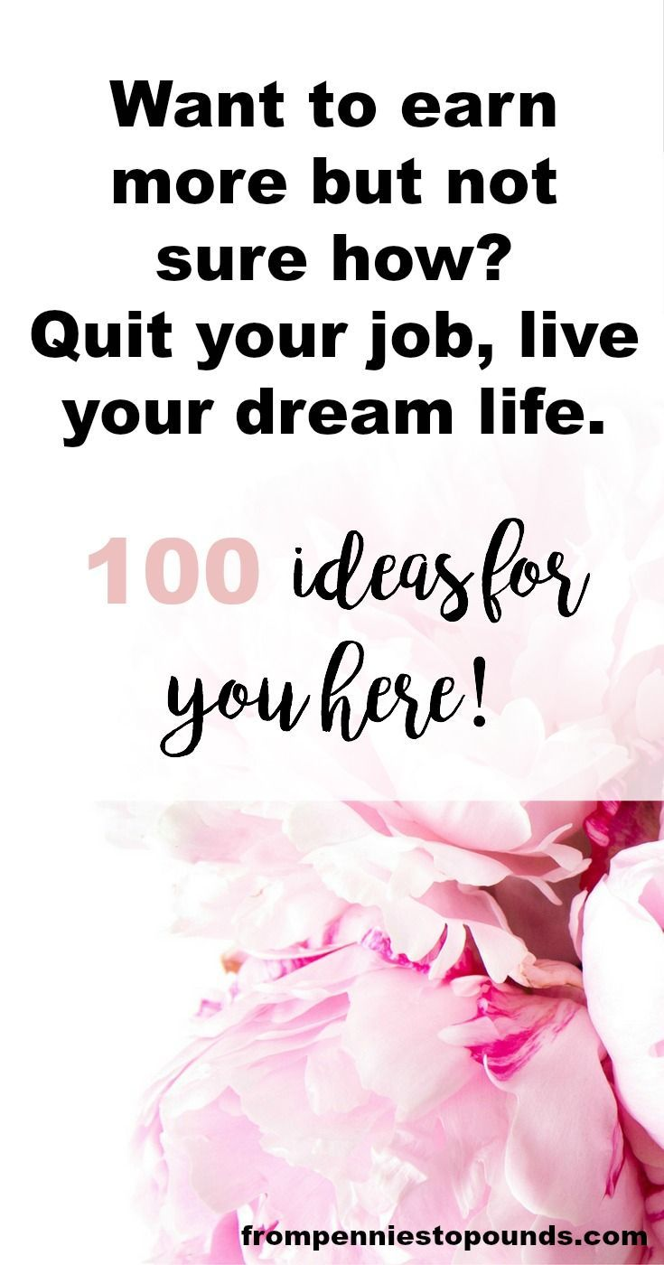 List of 100 side hustle business ideas. This is an epic list, full of jobs that you can do from home or online in order to escape the 9-5 and live your dream life. Create passive income, work hard and you will make extra money. Read the list here: http://www.frompenniestopounds.com/list-100-money-making-side-hustle-business-ideas/