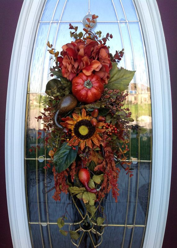 "Fall Wreath Autumn Wreath Thanksgiving Teardrop Vertical Door Swag Decor..""Fall…"
