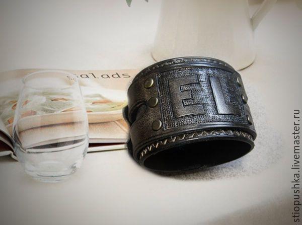 Купить Мужской кожаный браслет Именной - кожаный браслет, браслет для мужчин, молодежный браслет, с инициалами