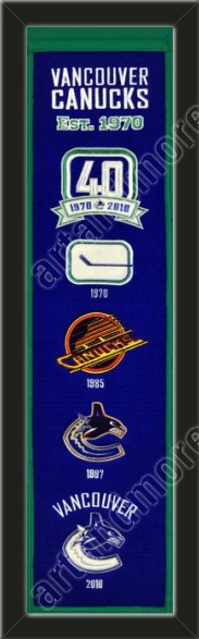 This Vancouver Canucks heritage banner framed to 8 x 32 inches. $89.99  @ ArtandMore.com