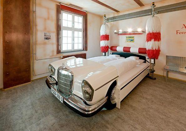 Cars repurposed as beds