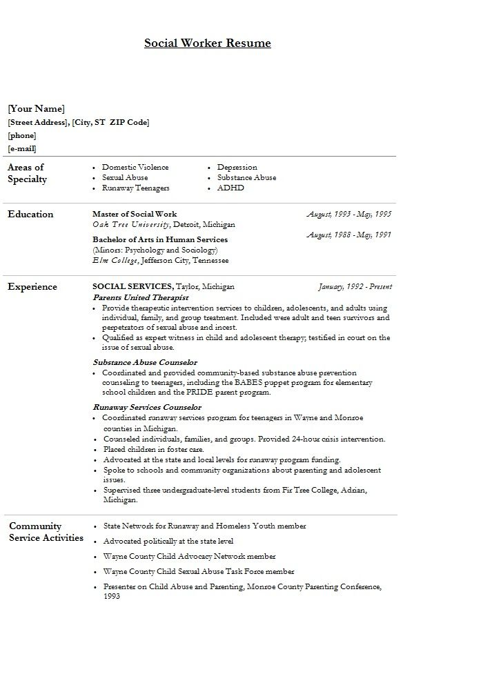 Modern Social Worker Resume  Template Sample  Social Work