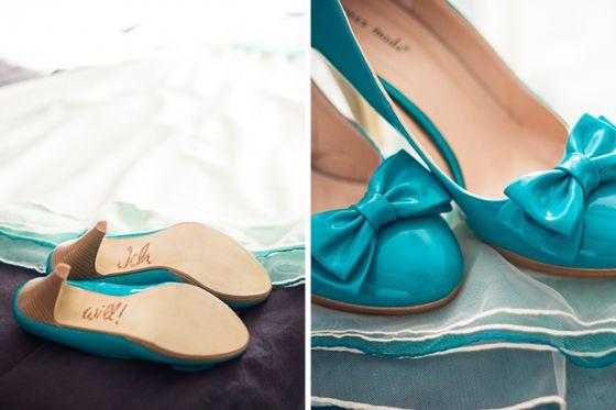 Türkise Schuhe mit ich will