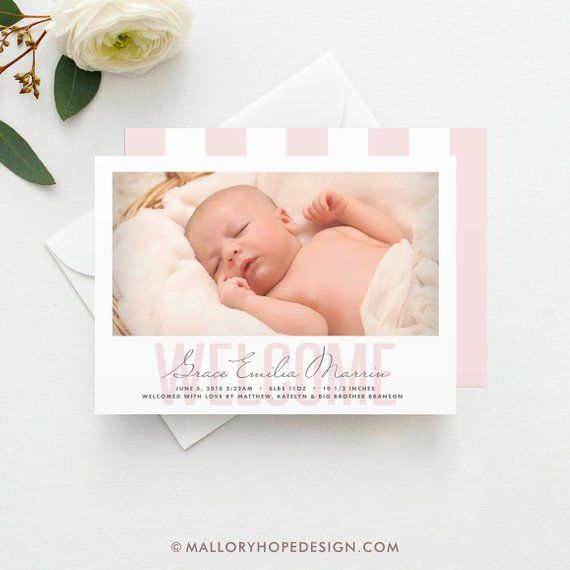 Welcome Birth Announcement PRINTED, Photo Birth Announcement