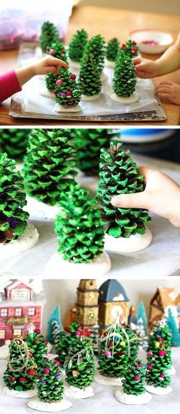 DIY Pine Cone Trees For Kids Paint your pine cone with green then glue some beads. The kids will surely enjoy this activity. Tiny Christmas trees made of pines!