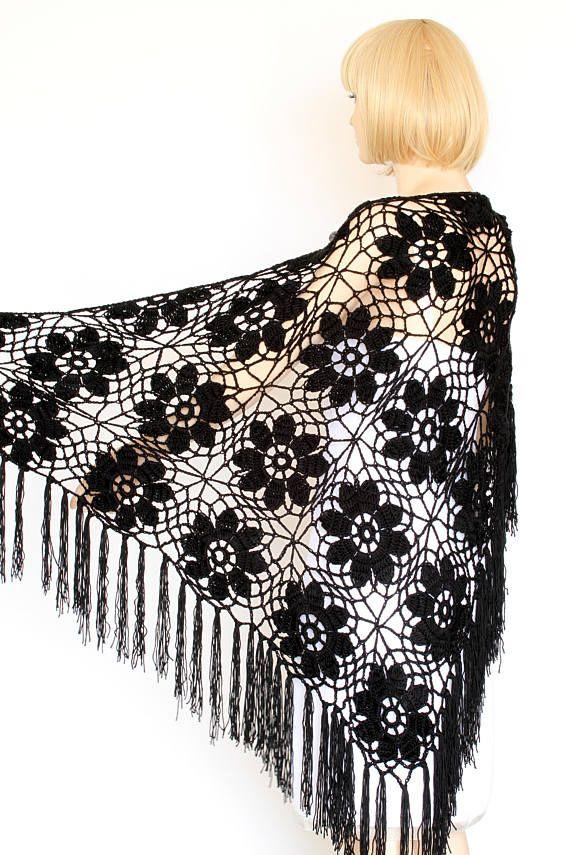 Black Shawl Crocheted wrap shawl Black shawl Black Wraps