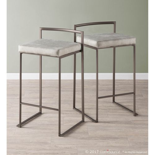 Fuji Light Gray Industrial Counter Stools Set Of 2 In 2019
