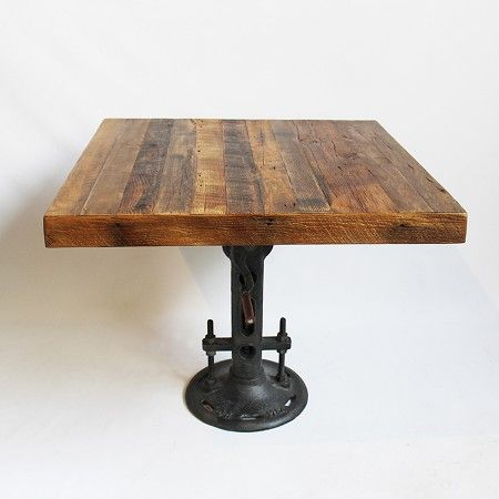 Reclaimed Oak Wood Top Square Dining Table With Original Cast Iron Crank  Base. Height Adjustable From 30