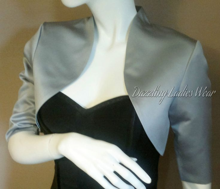 Grey / Silver Soft Satin Bolero 3/4 Length Sleeves - Satin Lining. Silver/Grey satin bolero, fully lined. Also available with short sleeves. Clothing - Single Size Conversion. The chest size is the measurement of the fullest part of the chest and not the bra size.   eBay!